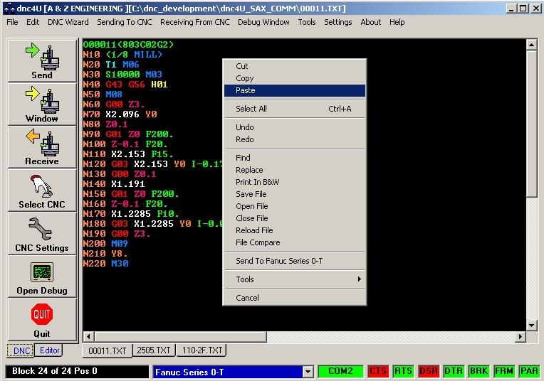 The main  screen of dnc4U dnc software program